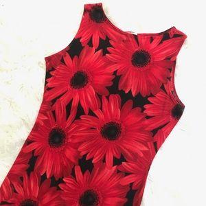 Vintage JANANA'S Red Daisies Black Print 90s Dress